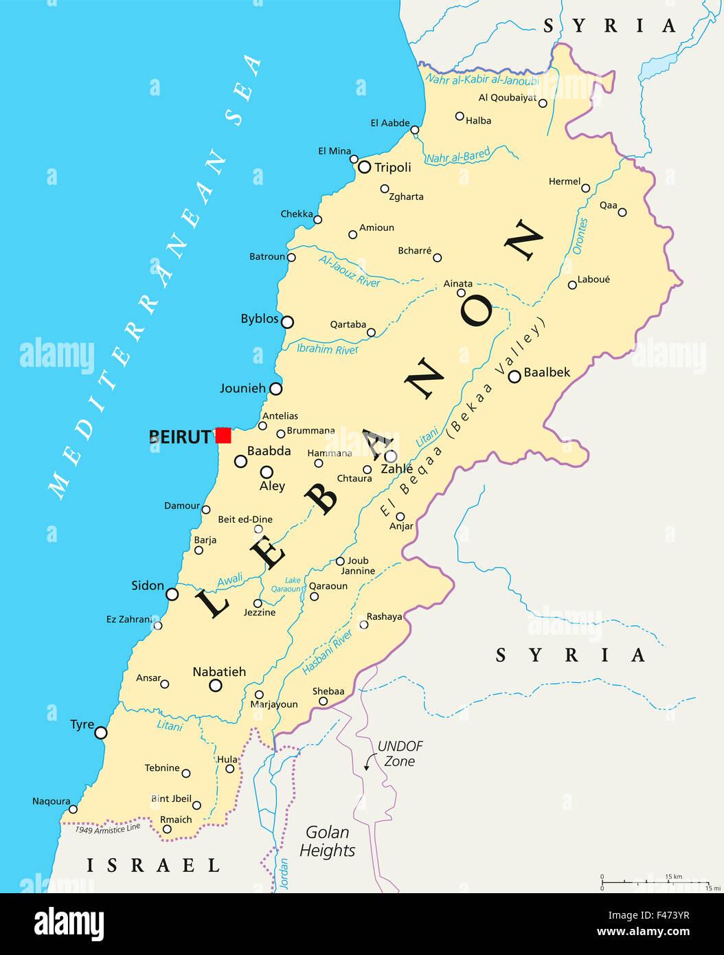Cartina Libano E Israele.Il Libano Mappa Politico Con Capitale Beirut Confini Nazionali Importanti Citta Fiumi E Laghi Etichetta Inglese E La Scala Foto Stock Alamy