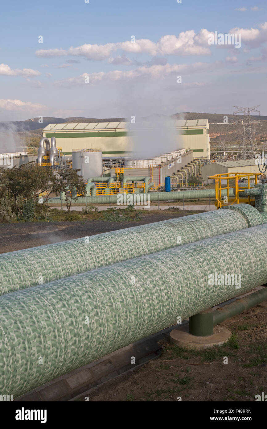 Olkaria 280MW di energia geotermica impianto Hell's Gate Rift Valley Kenya Immagini Stock