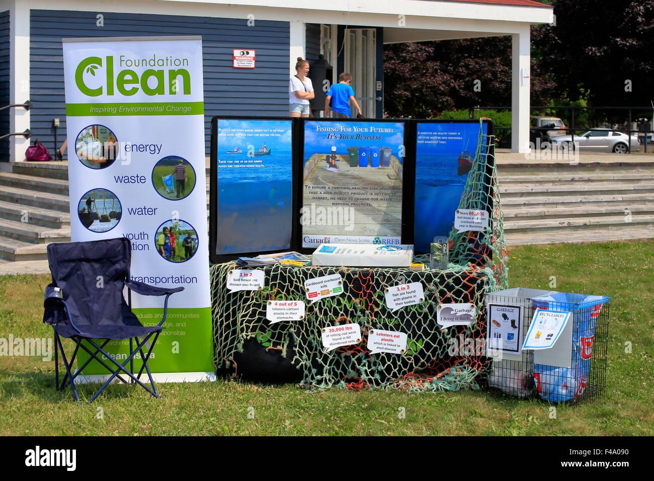 Un pulito Foundation presentano ambientali o display per promuovere il risparmio energetico, riciclo acqua pulita, Immagini Stock