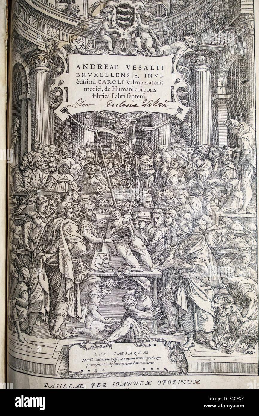 Pagina del titolo della prima edizione (1543) di De humani corporis fabrica Libri Septem (sul tessuto del corpo Immagini Stock