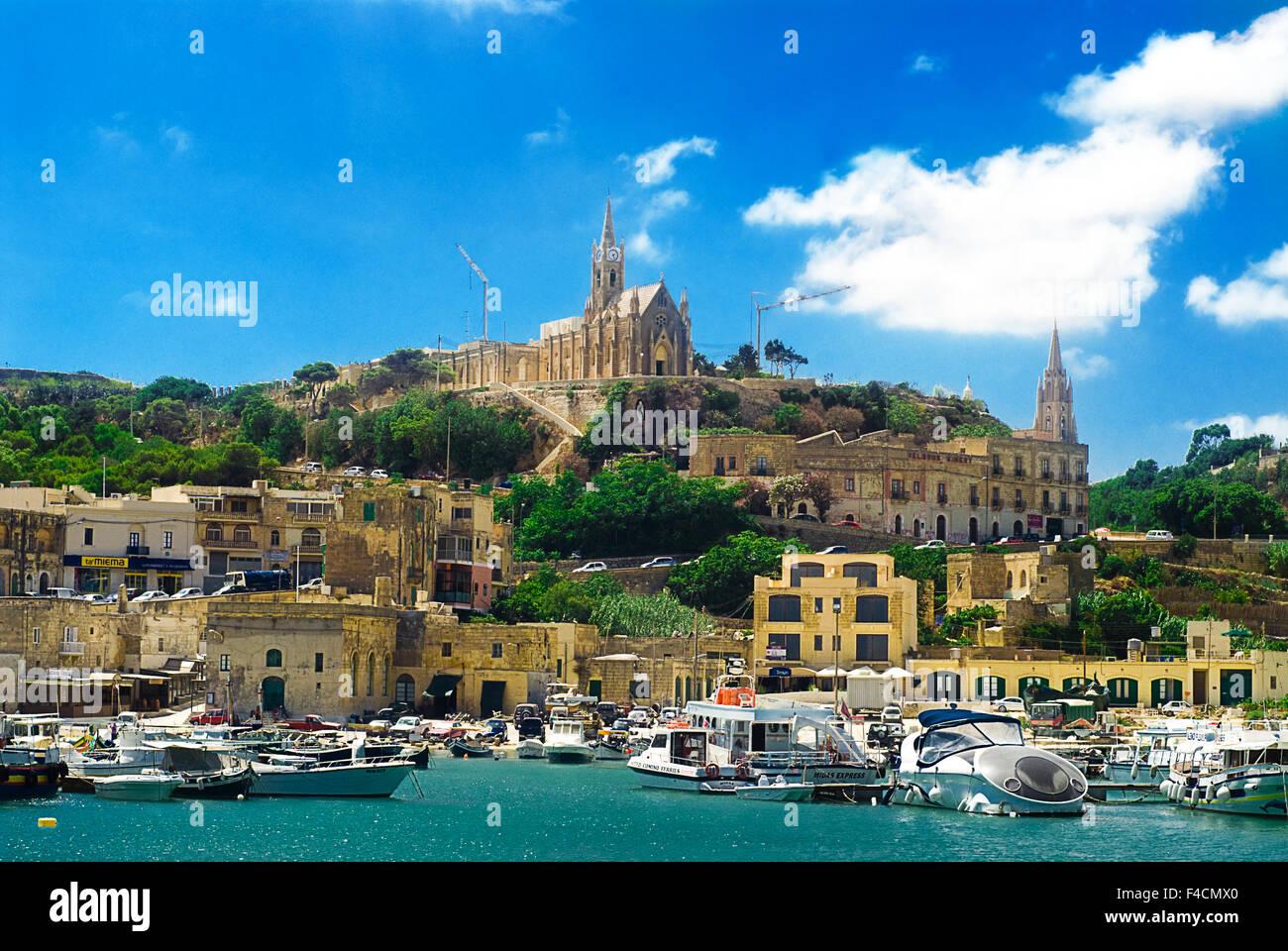 Una vista di Gozo, una delle isole maltesi. Immagini Stock