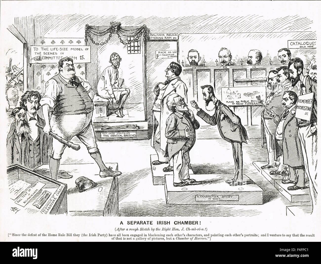 Irish Home regola sconfitta cartoon 1894 Immagini Stock