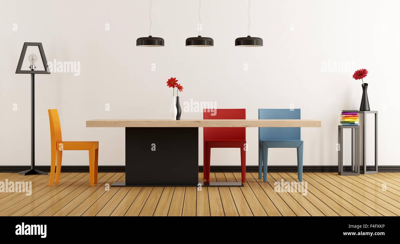 Minimalista sala da pranzo con tavolo e sedie colorati 3D