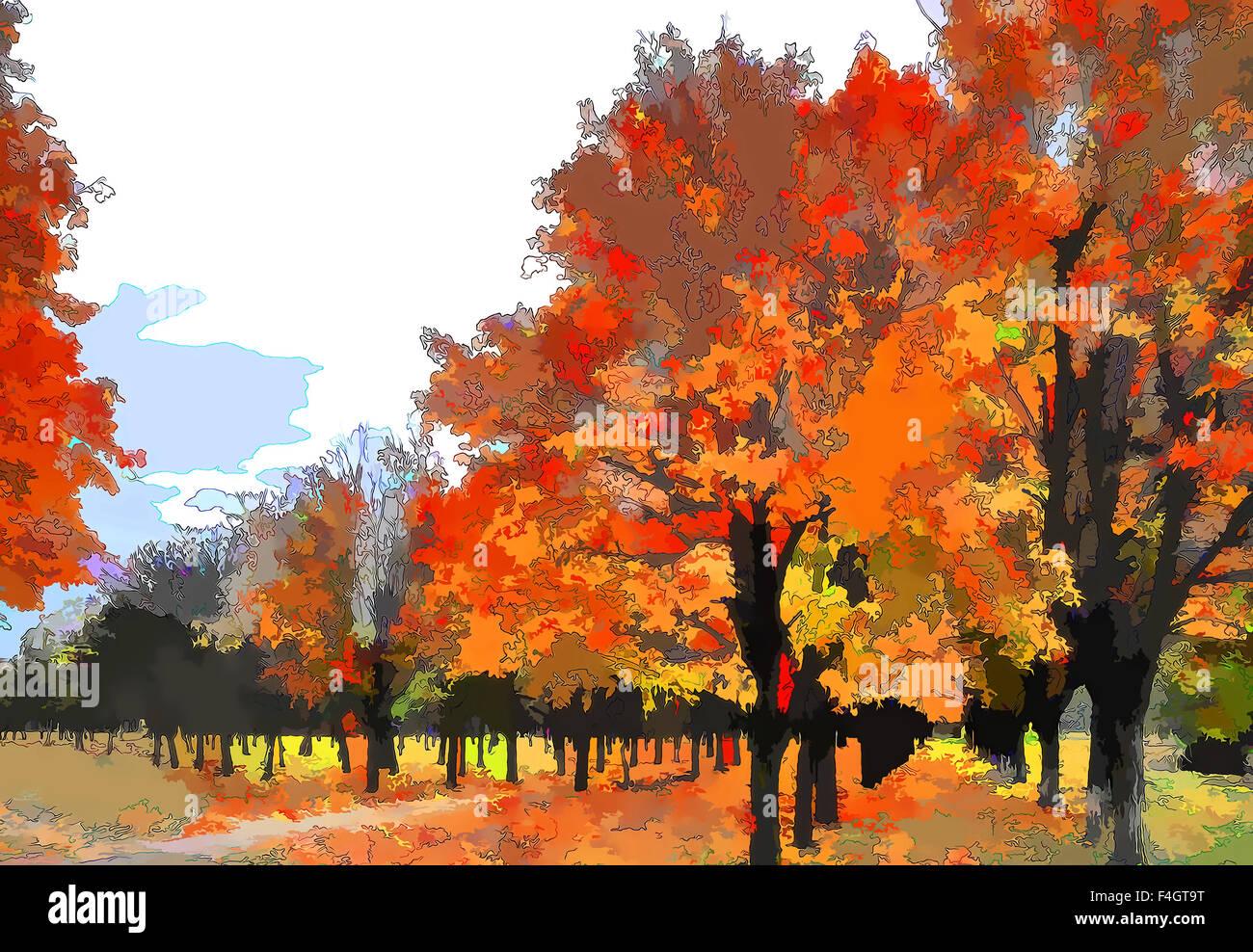 Arte autunno paesaggio come la pittura ad olio. Grunge immagine che mostra gli alberi. Immagini Stock