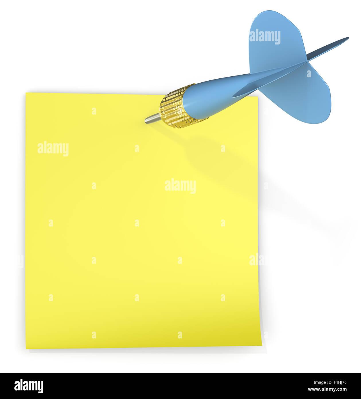 Bigliettino giallo attaccato con blu freccia DART. Copia dello spazio. Immagini Stock