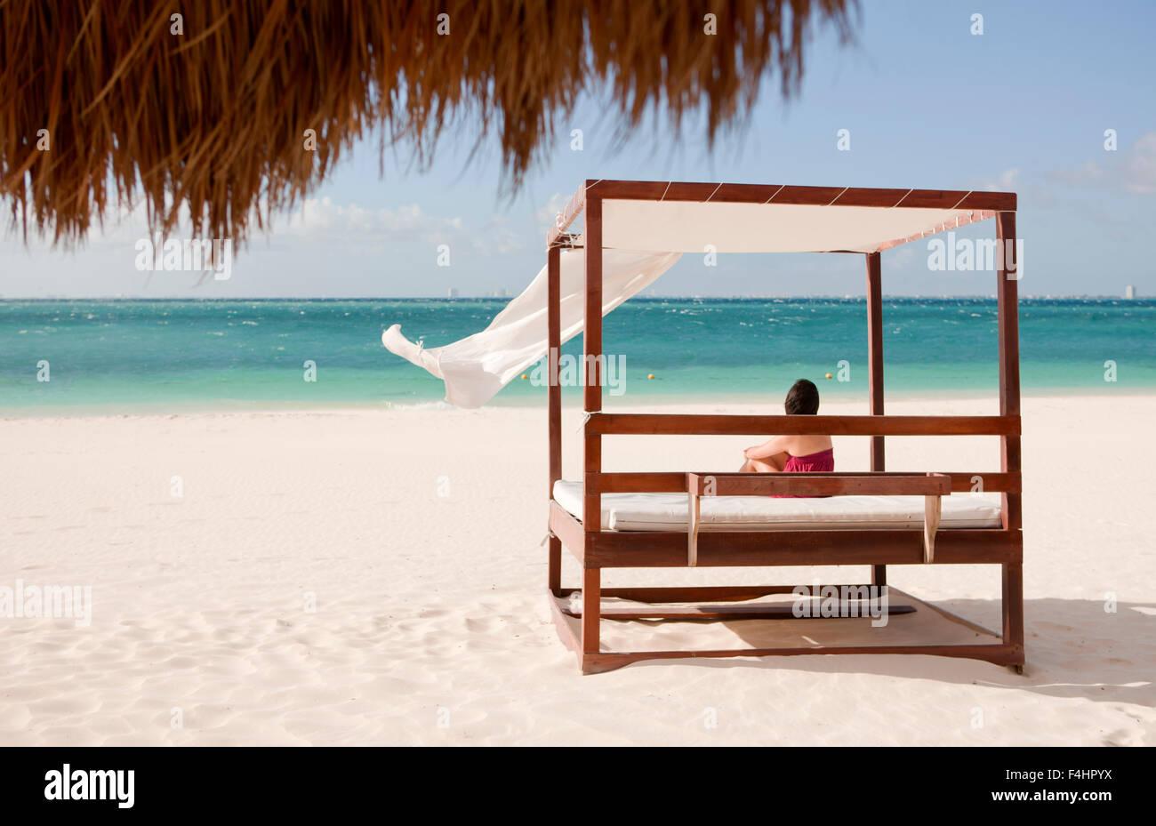 La spiaggia principale di Isla Mujeres, un'isola off, Cancun Quintana Roo, Messico. Immagini Stock