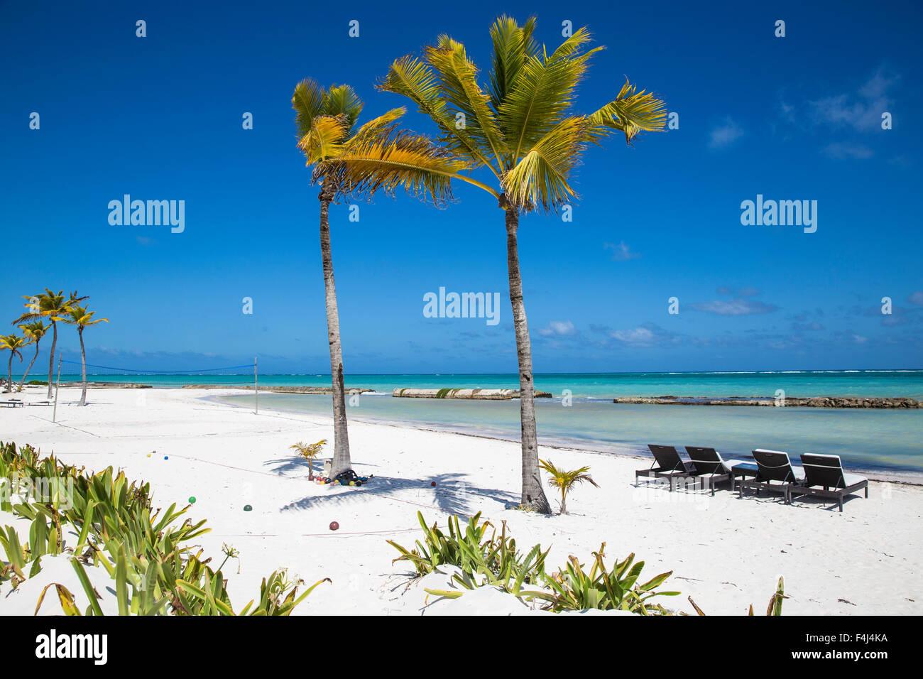Spiaggia a anche del Mar resort di Punta Cana, Repubblica Dominicana, West Indies, dei Caraibi e America centrale Immagini Stock