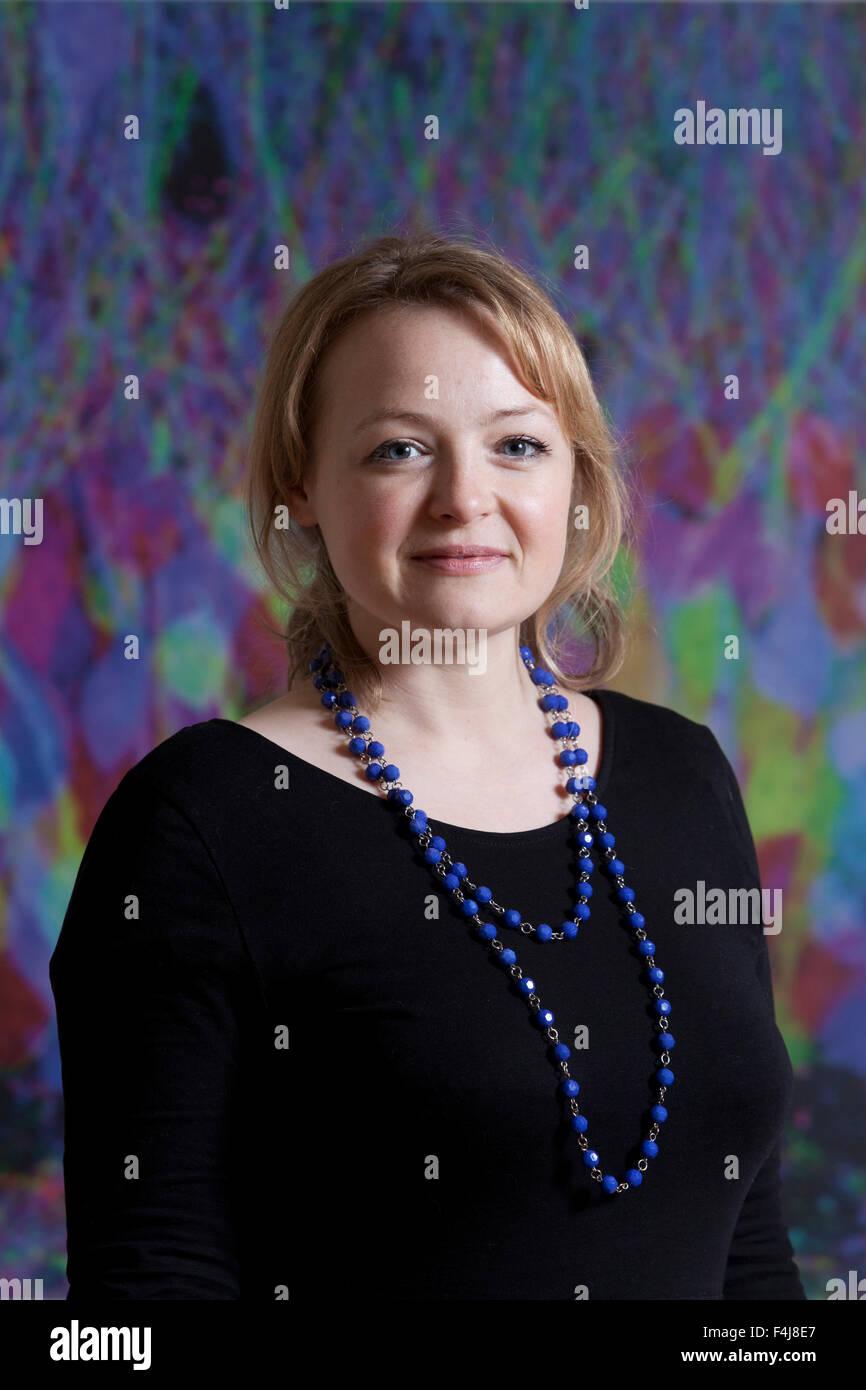 Lucy Ribchester, autore e racconto breve scrittore, all'Summerhall Narrativa storica Festival 2015. Edimburgo, Immagini Stock