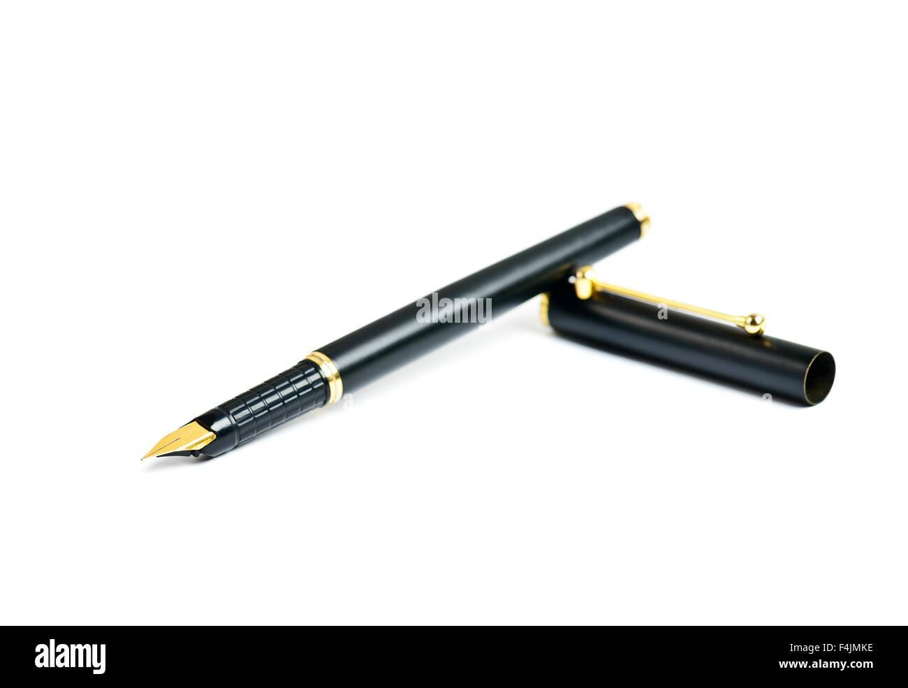 Eleganza inchiostro dorato penna stilografica isolato su bianco Immagini Stock