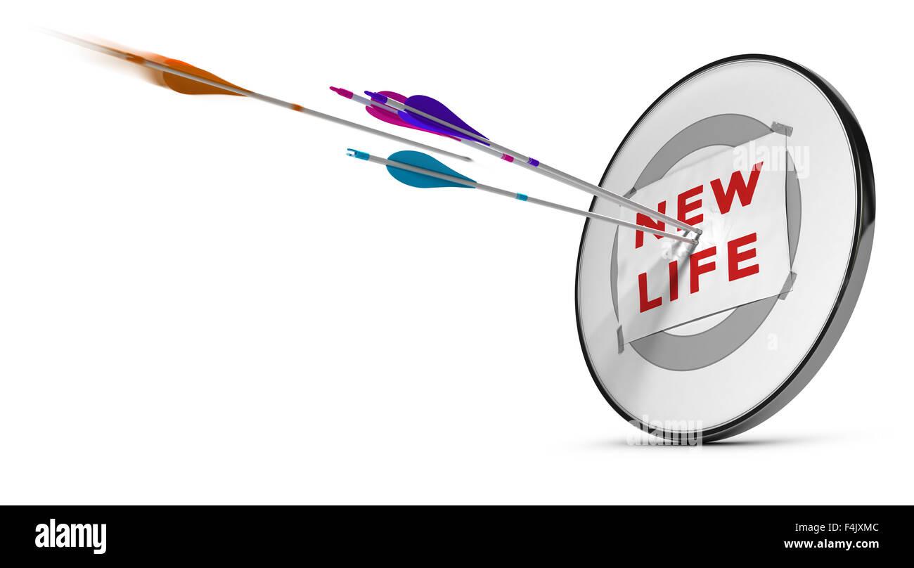 Un bersaglio con tre frecce colorate di colpire il testo nuova vita. Concetto di immagine per illustrazione di correttamente Immagini Stock