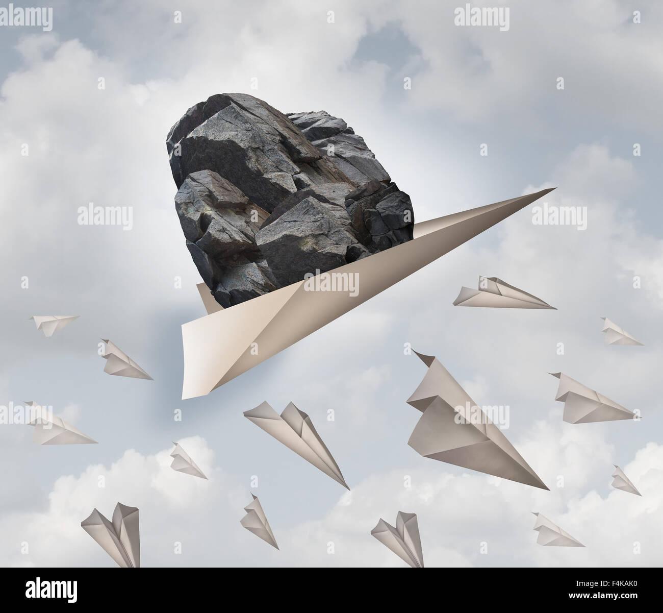 Potere della motivazione del successo aziendale nozione come un aeroplano di carta trasporta un heavy rock con un Immagini Stock