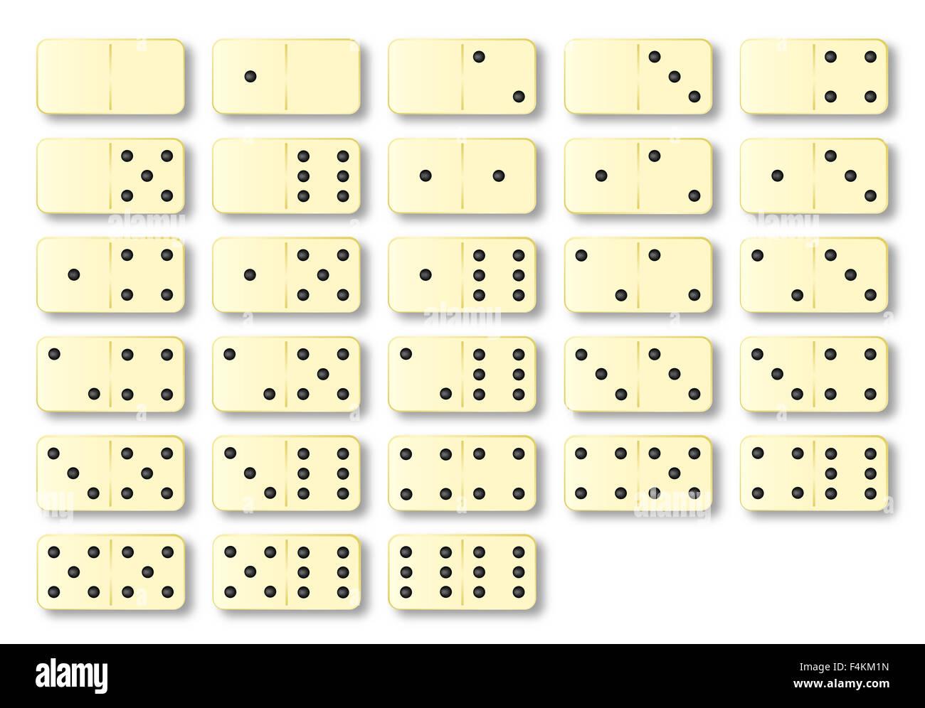 Un Set Completo Di Avorio Di Domino Su Uno Sfondo Bianco Foto