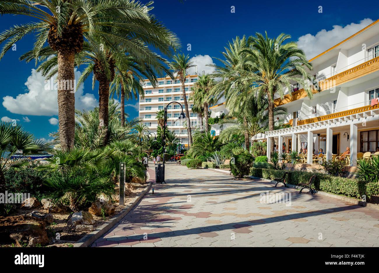 Vista del lungomare di Ibiza Immagini Stock