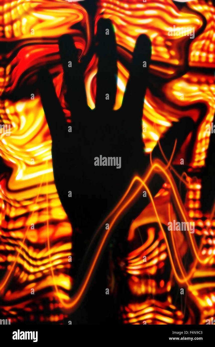 Mano scuro e colori luminosi, illustrazione Foto Stock
