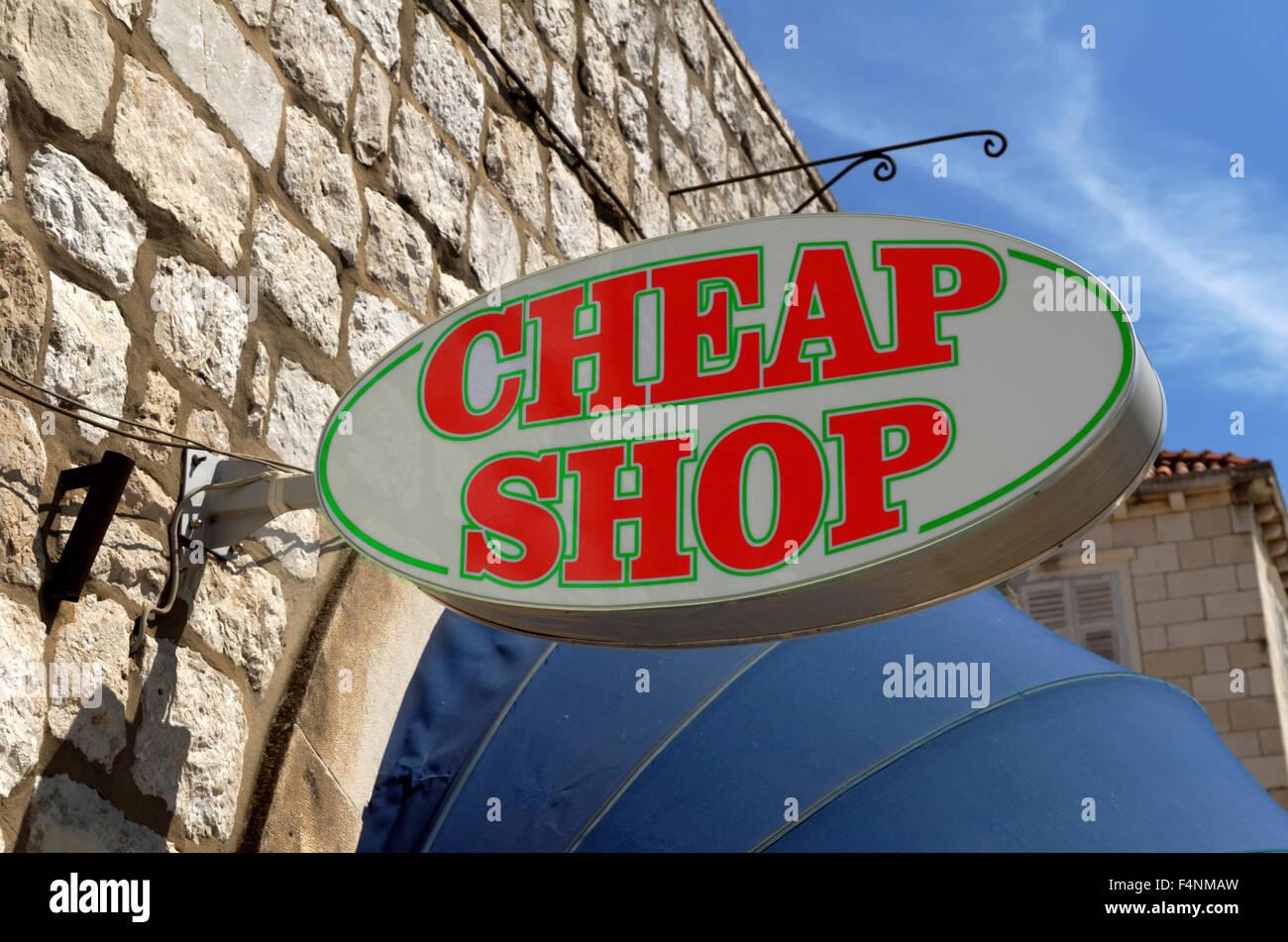 Segno del negozio a buon mercato Immagini Stock