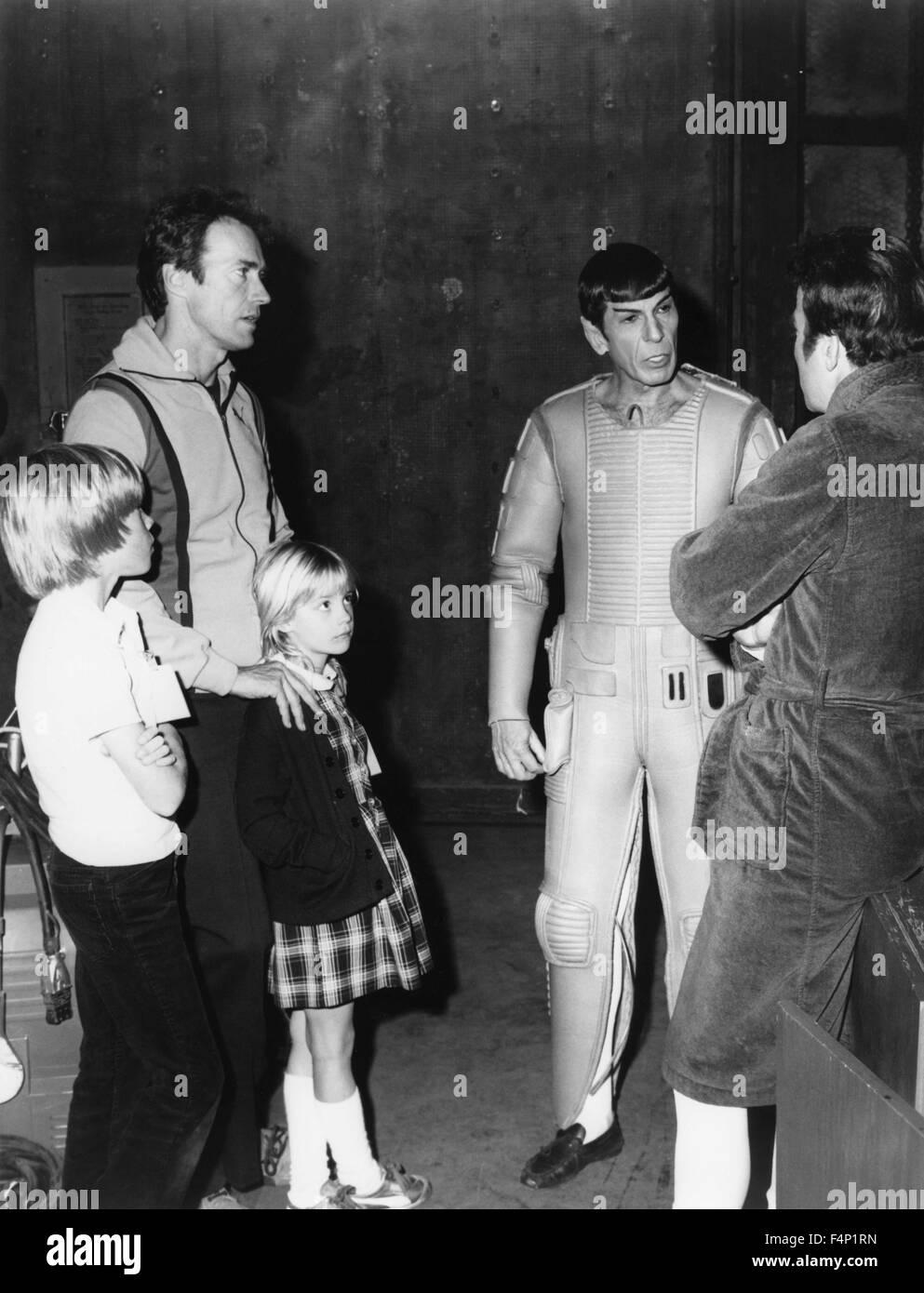 Clint Eastwood con i suoi figli Kyle e Alison negli anni settanta Immagini Stock