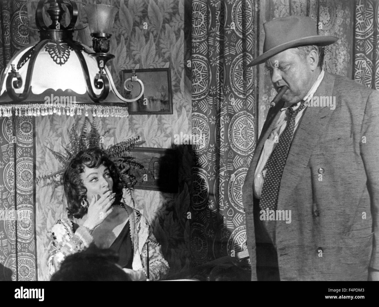 Marlene Dietrich, Orson Welles / Touch del male 1958 diretto da Orson Welles Immagini Stock