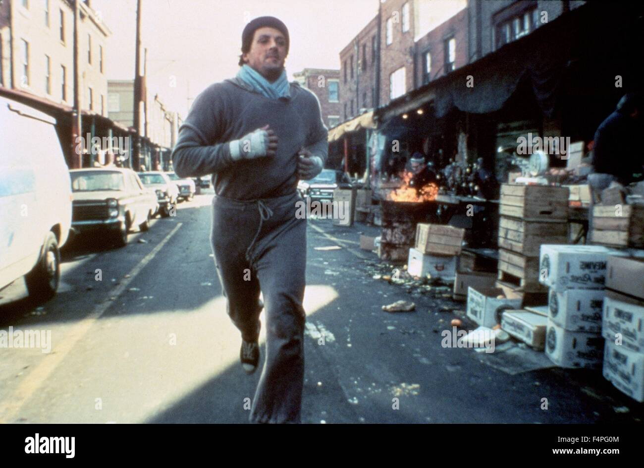Sylvester Stallone / Rocky / 1976 diretto da John G. Avildsen Immagini Stock