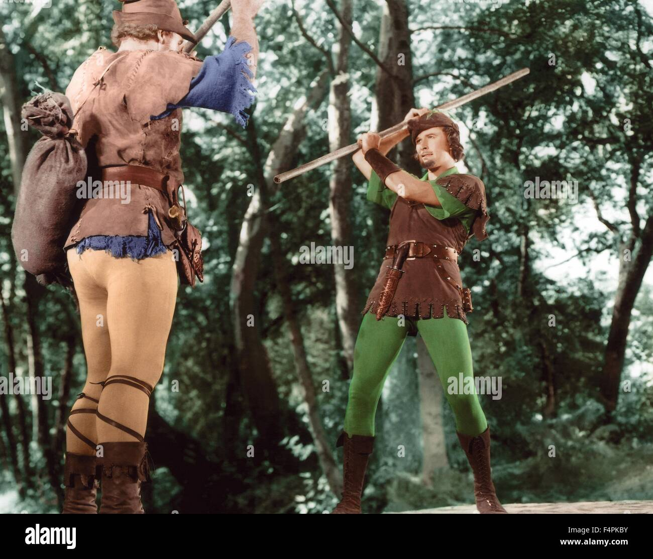 Errol Flynn / Le avventure di Robin Hood / 1938 diretto da Michael Curtiz e William Keighley [Warner Bros Foto] Immagini Stock