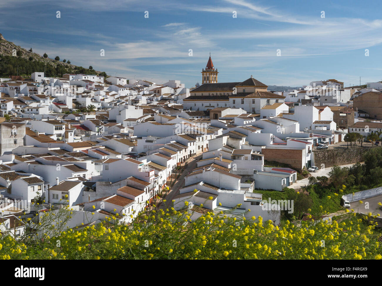 L'Andalusia, regione, paesaggio, provincia di Malaga, Spagna, Europa, molla, Teba, città, architettura, Immagini Stock