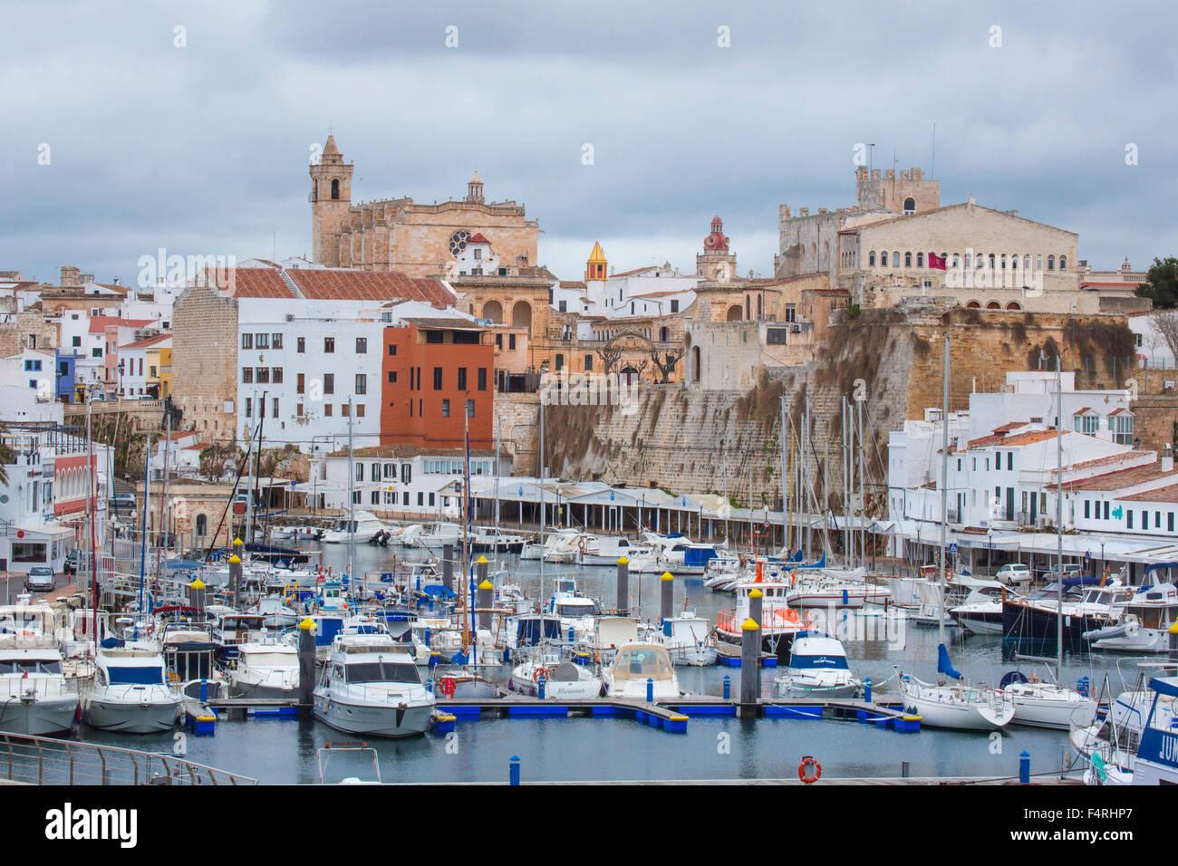 Isole Baleari, Municipio di Ciutadella, città, paesaggio, Menorca, Baleari, Spagna, Europa, molla, architettura, Immagini Stock
