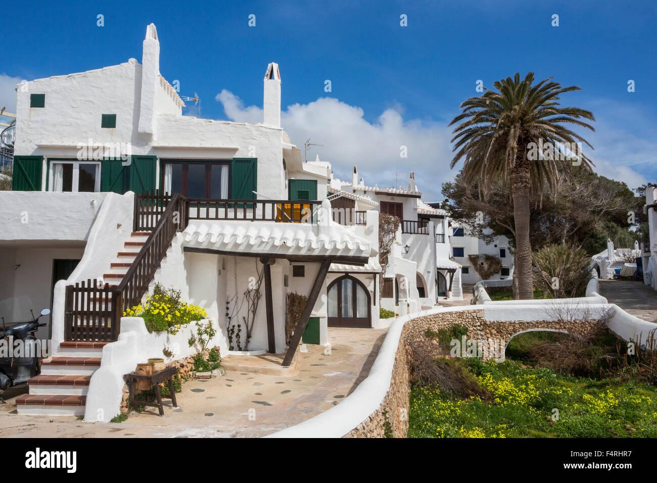Isole Baleari, Binibeca, villaggio di pescatori, paesaggio, Menorca, Isola, vecchio Binibeca, Spagna, Europa, arco, Immagini Stock