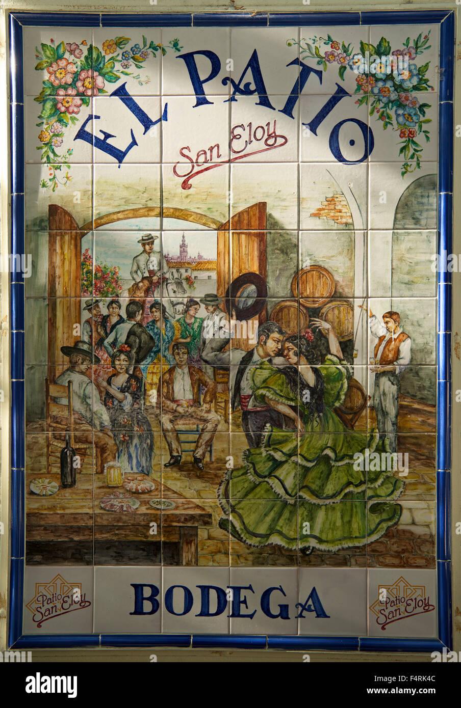 Andalusia, Spagna, Europa, fuori, giorno azulejos, tegola, tradizionale, Siviglia, dettaglio, nessuno, formato verticale Immagini Stock