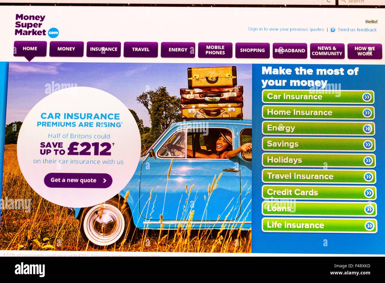 Soldi super mercato confronto website homepage energia assicurazione supermercato online screenshot dello schermo Immagini Stock