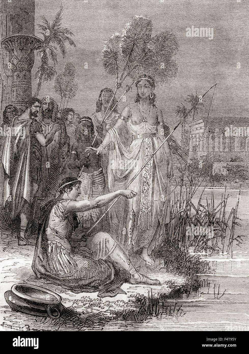 Illustrazione della storia raccontata da Plutarco nella sua biografia di Marc Antony circa l'incidente di pesca Immagini Stock