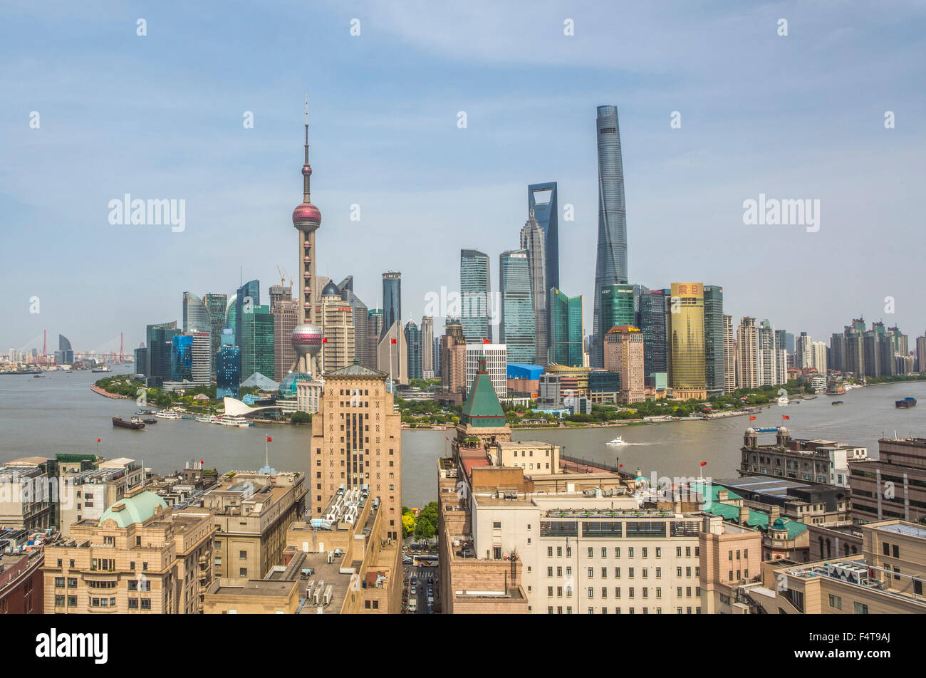 Cina Shanghai City, il Bund e il Pudong district skyline, Fiume Huangpu Immagini Stock