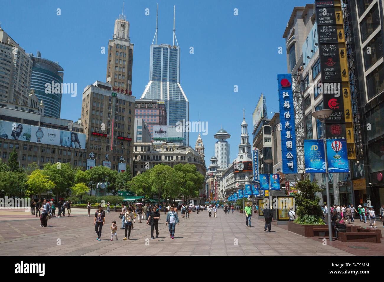 Cina Shanghai City, Nanjin Lu Street Immagini Stock
