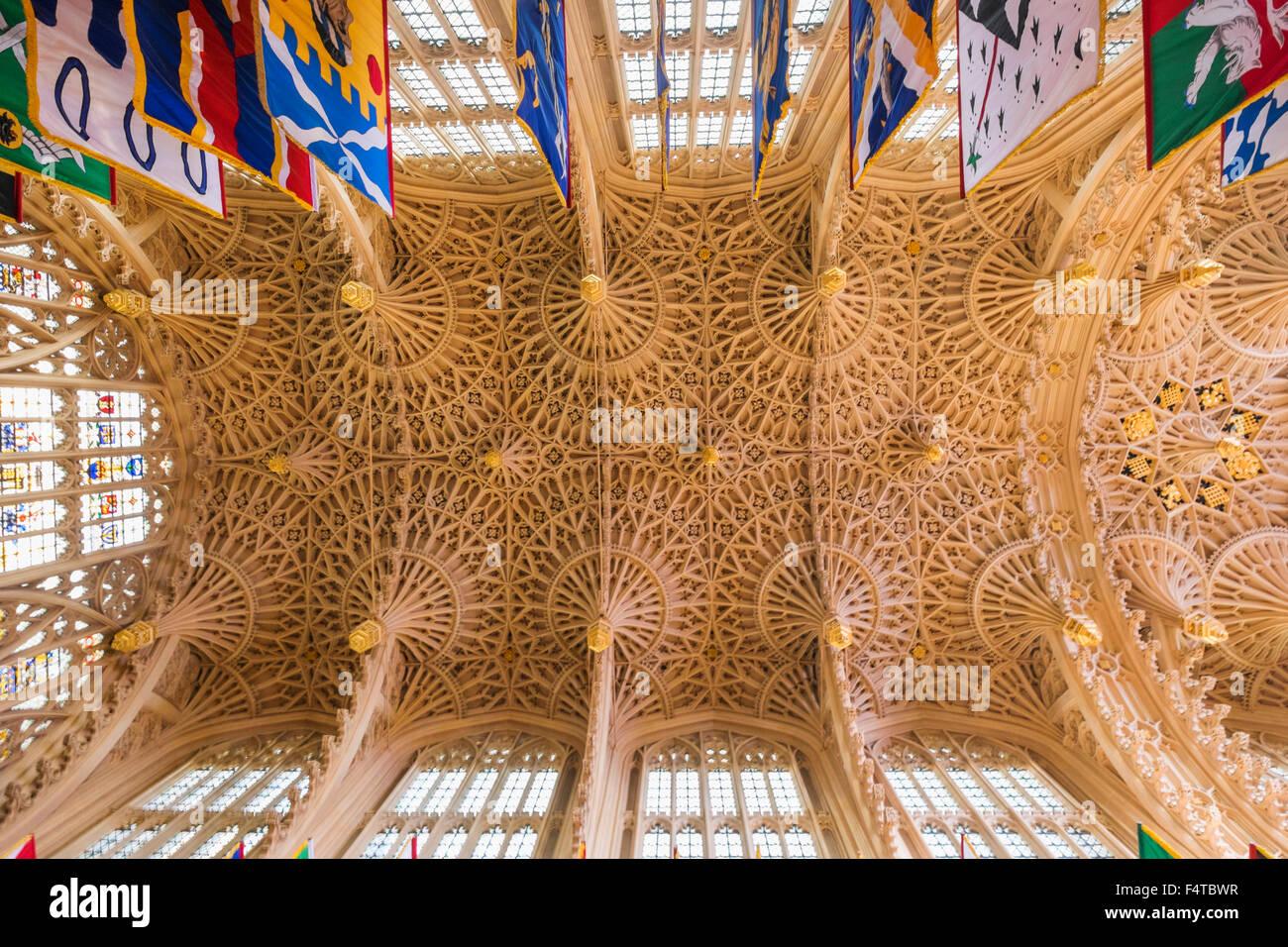 Inghilterra, London, Westminster Abbey, il soffitto di Enrico VII, 's cappella dedicata alla Vergine Immagini Stock