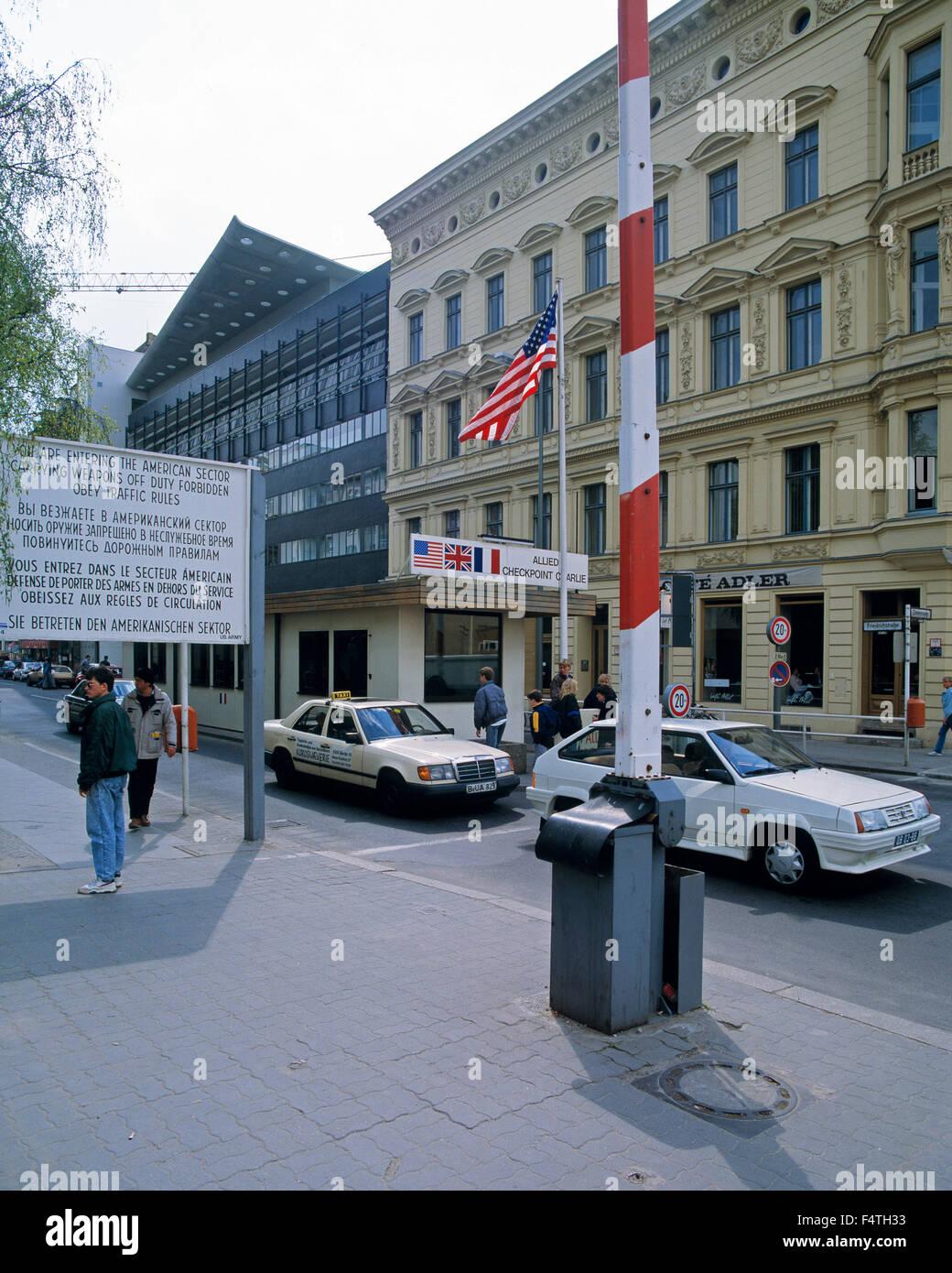 Germania, Europa, Berlino, apertura, il muro di Berlino, attraversamento straniera, checkpoint, Checkpoint Charlie, Immagini Stock