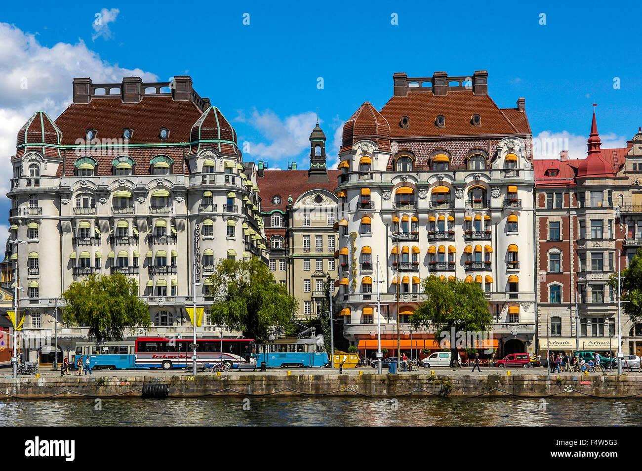 Svezia Stoccolma stile Liberty edifici con Hotel Diplomat sul lato destro Immagini Stock