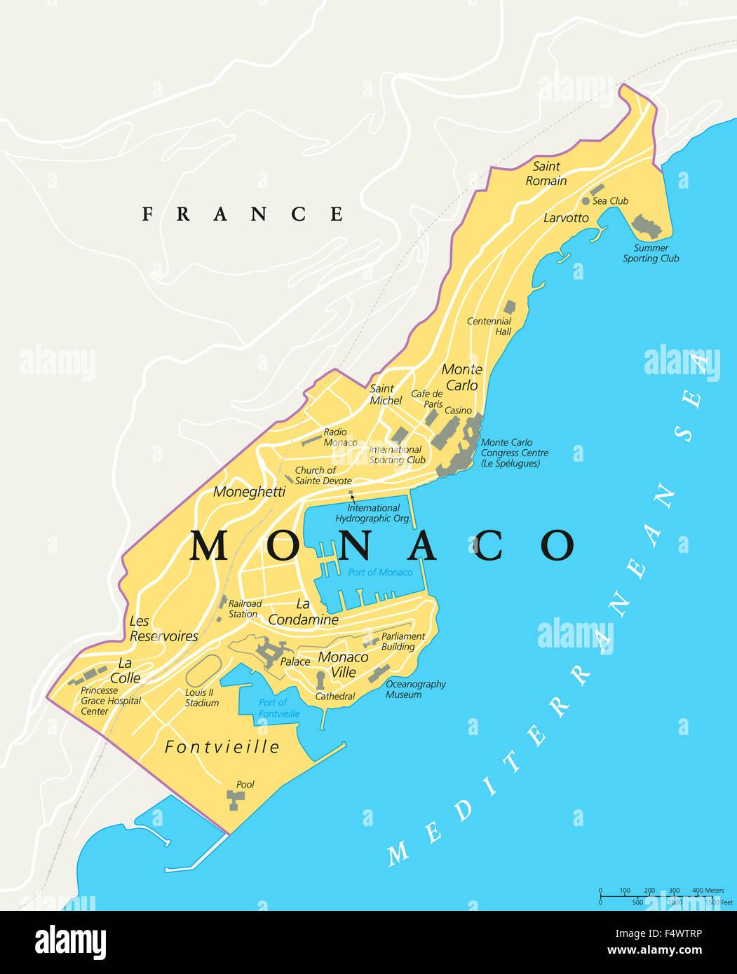 Francia Costa Azzurra Cartina Geografica.Monaco Mappa Politico Citta Stato In Sulla Costa Azzurra Francia Con Frontiere Nazionali Importanti Edifici E Luoghi Di Interesse Foto Stock Alamy