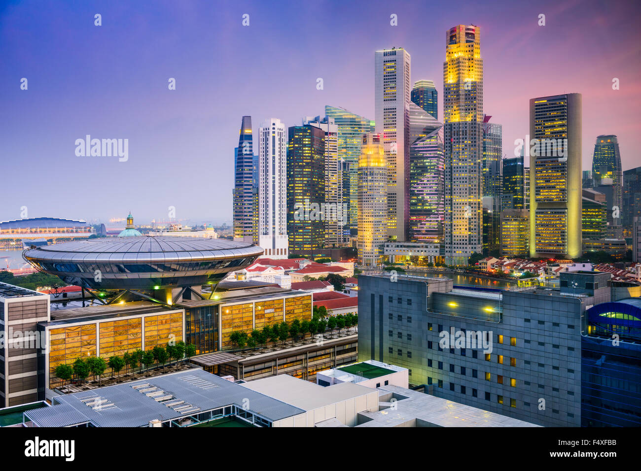 Lo skyline di Singapore. Immagini Stock