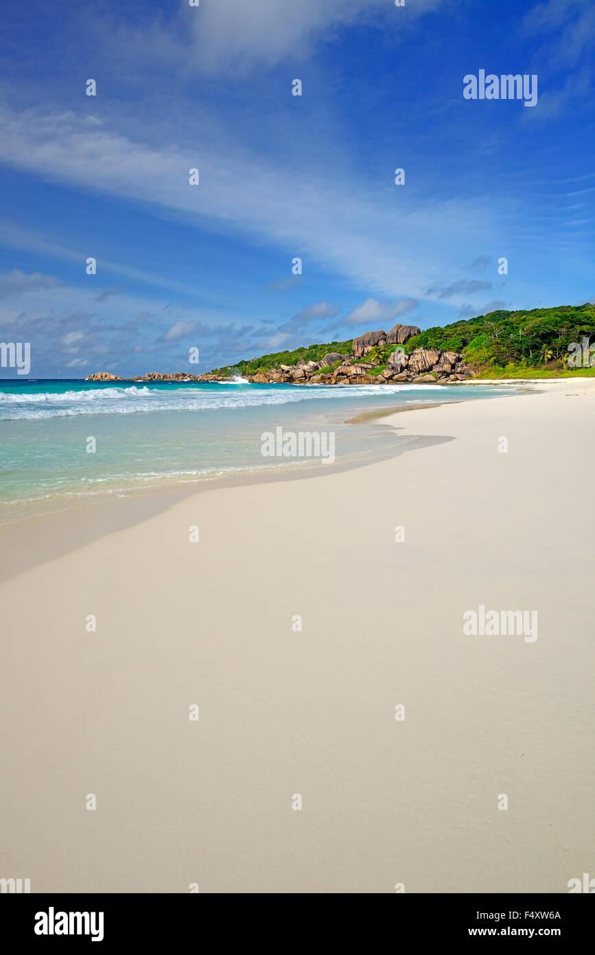 Grand Anse spiaggia da sogno, La Digue Island, Seicelle Immagini Stock