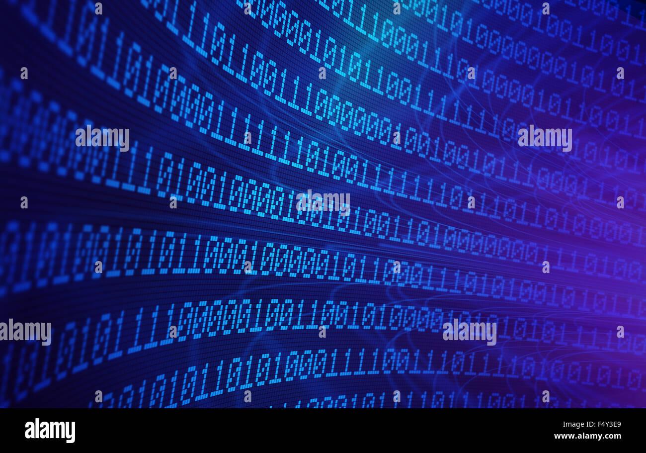 3D il codice binario - dati di grandi dimensioni e di concetto di programmazione Immagini Stock