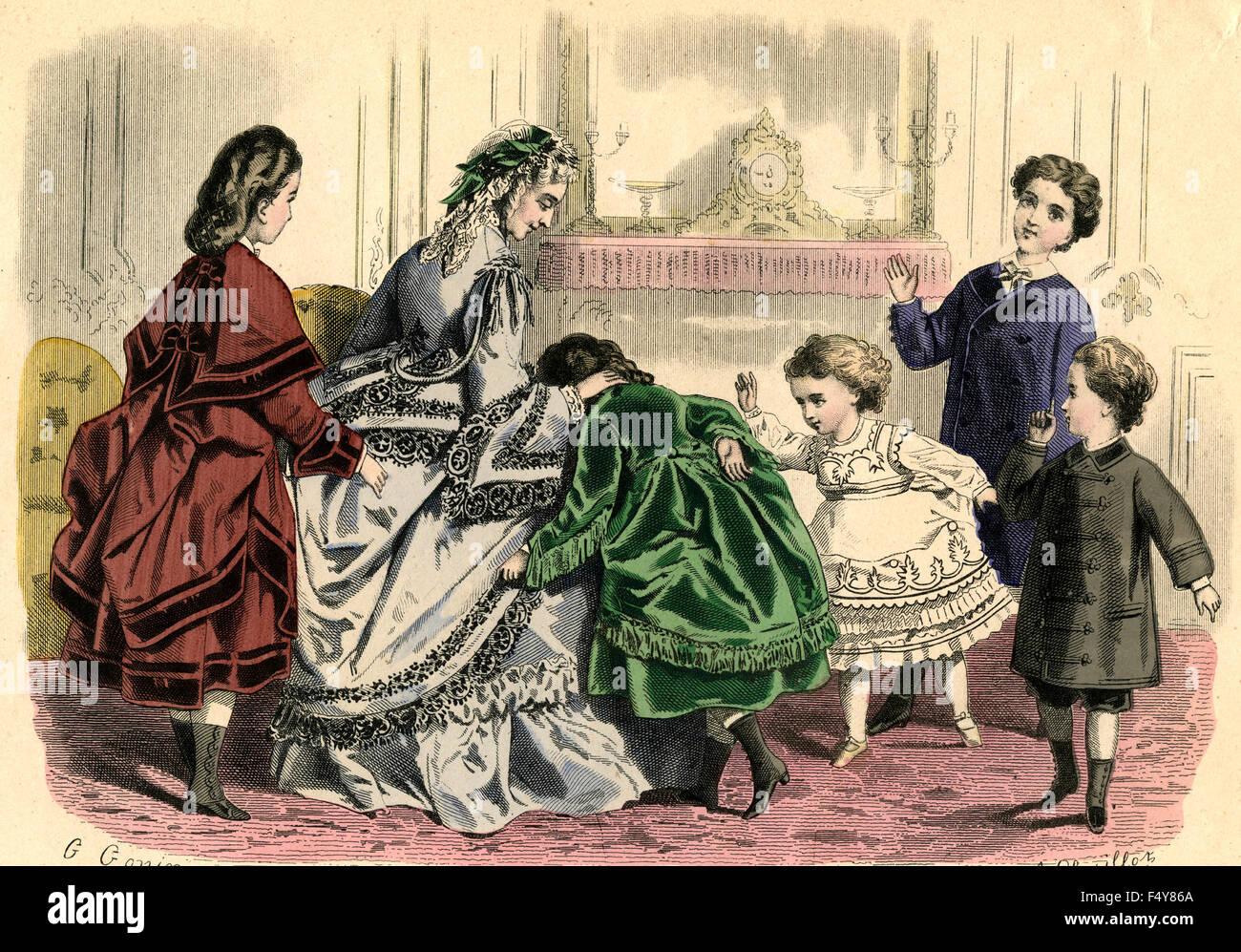 Illustrazione Moda: donna francese alla fine del 1800 Immagini Stock