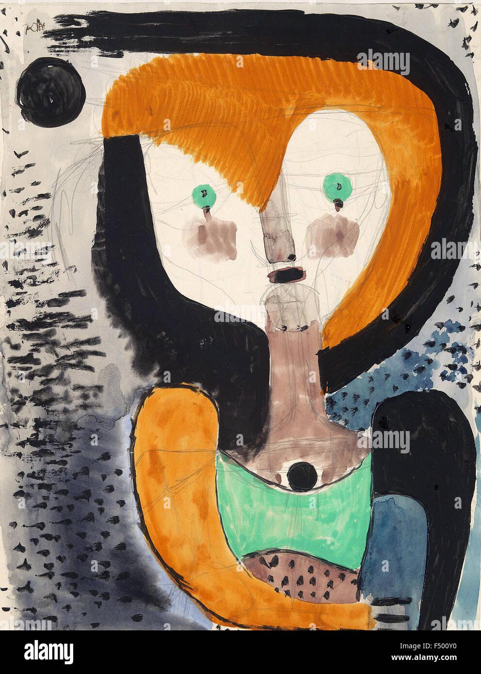 Paul Klee - Aquarelleskizze zu 'MA' (disegno ad acquerello per 'M. A.') Immagini Stock