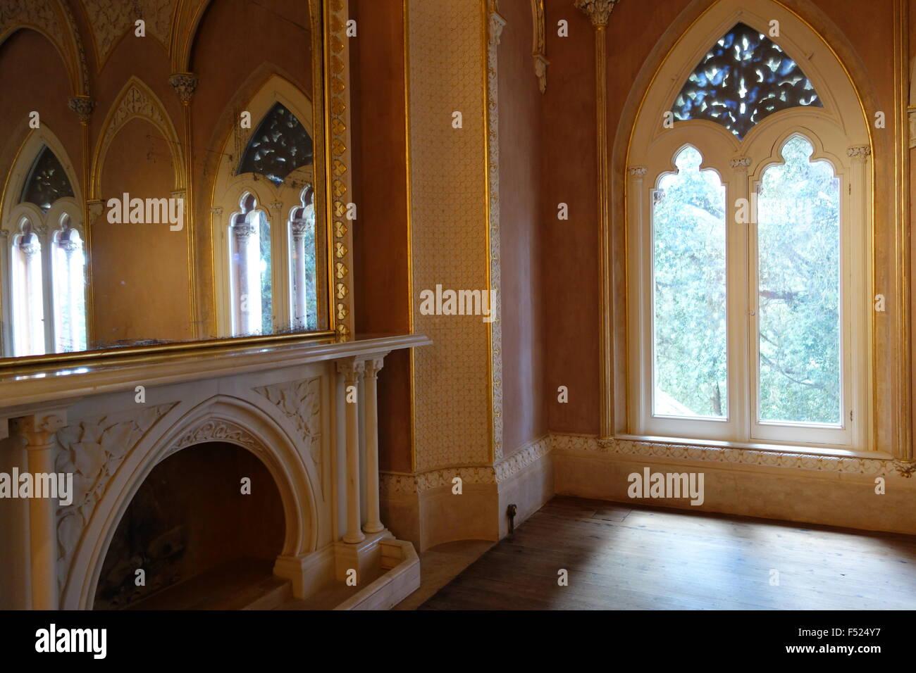 Montserrate Palazzo Sintra Portogallo angolo del disegno indiano restaurato in camera 2015 Immagini Stock