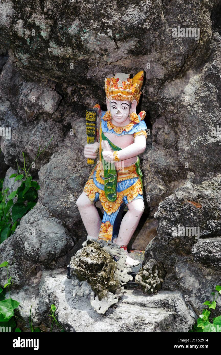Asia Indonesia Bali, Sanur, rock, figura, divinità Indù, Immagini Stock