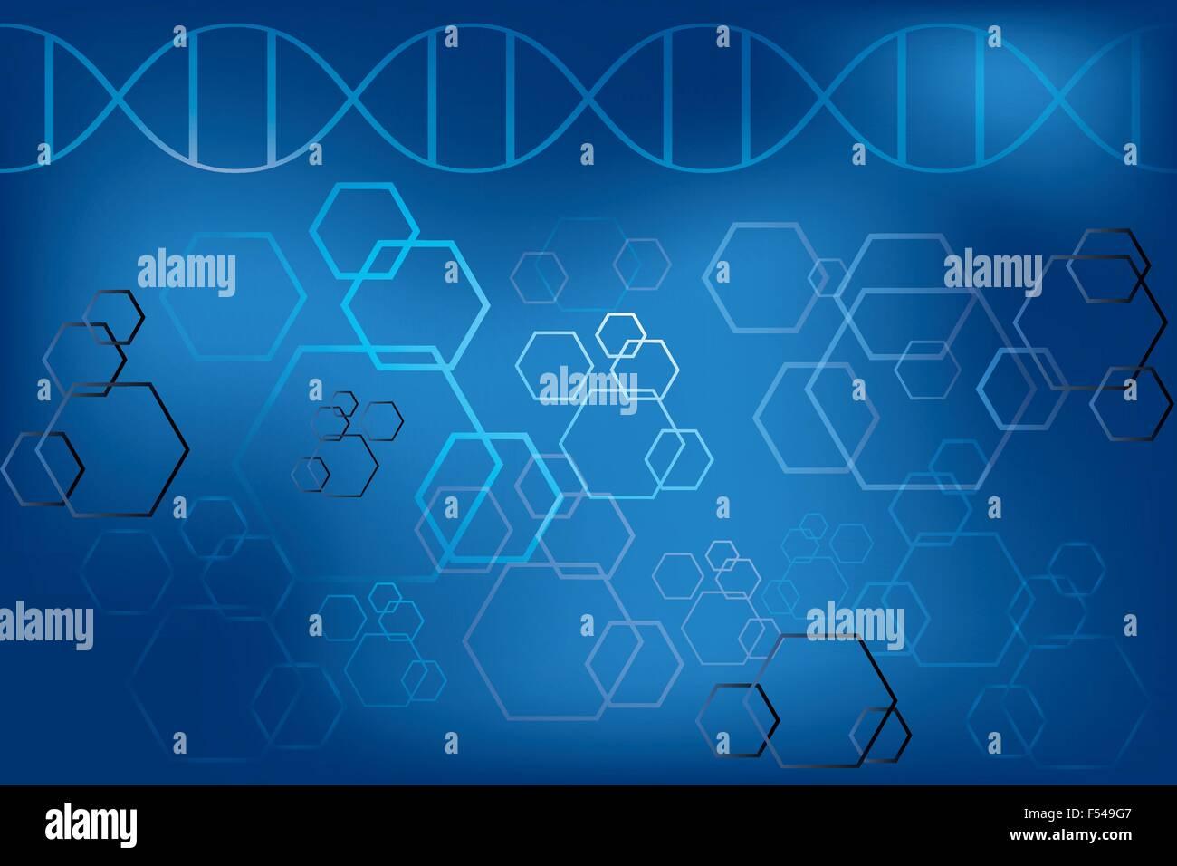 Il filamento di DNA e atomi di astratta su fondo azzurro - illustrazione vettoriale Immagini Stock