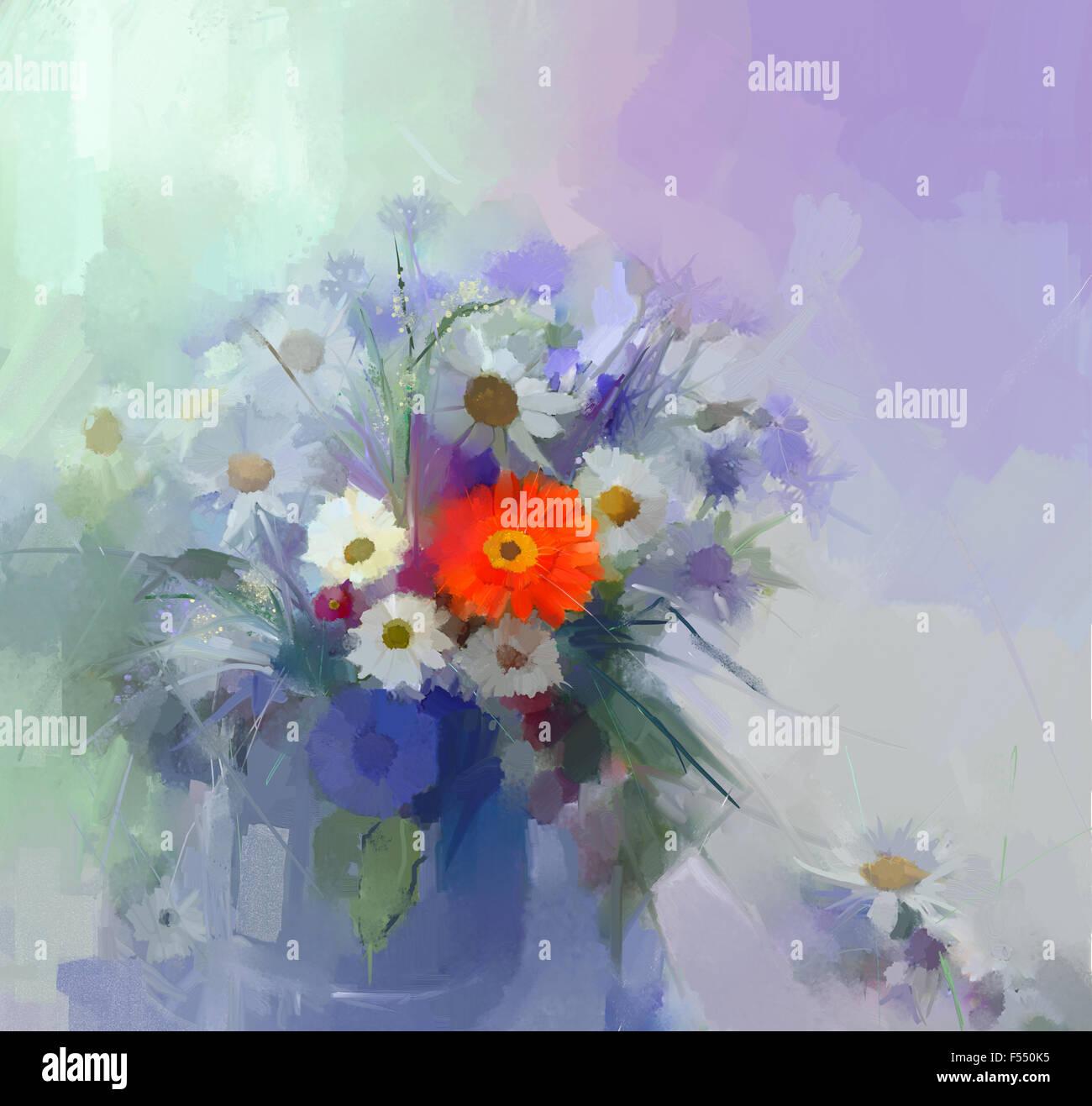 Pittura di olio ancora vita bouquet di fiori in vaso Immagini Stock