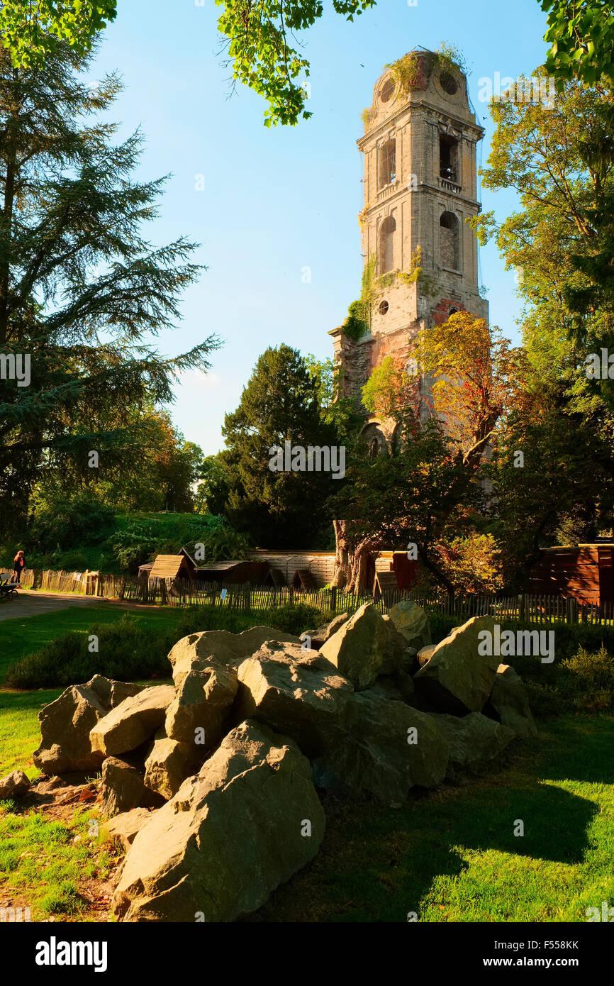 Torre tra gli alberi Foto Stock