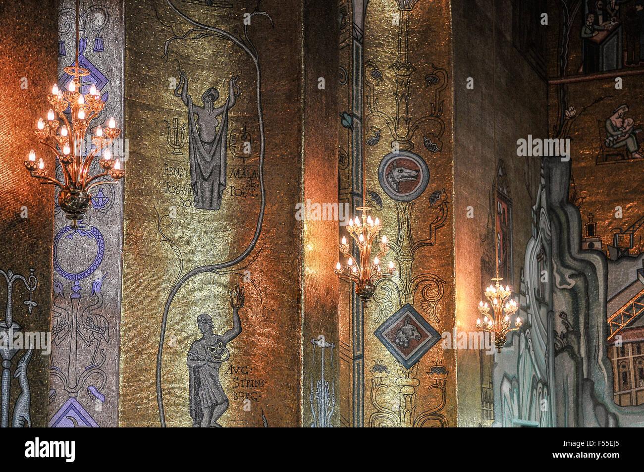 Pareti Doro : Svezia stoccolma stadshuset municipio sala doro ornata da mosaici