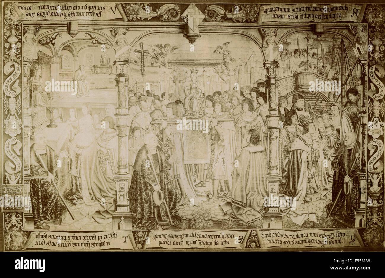 La leggenda della Madonna di Sablon, arazzo Immagini Stock
