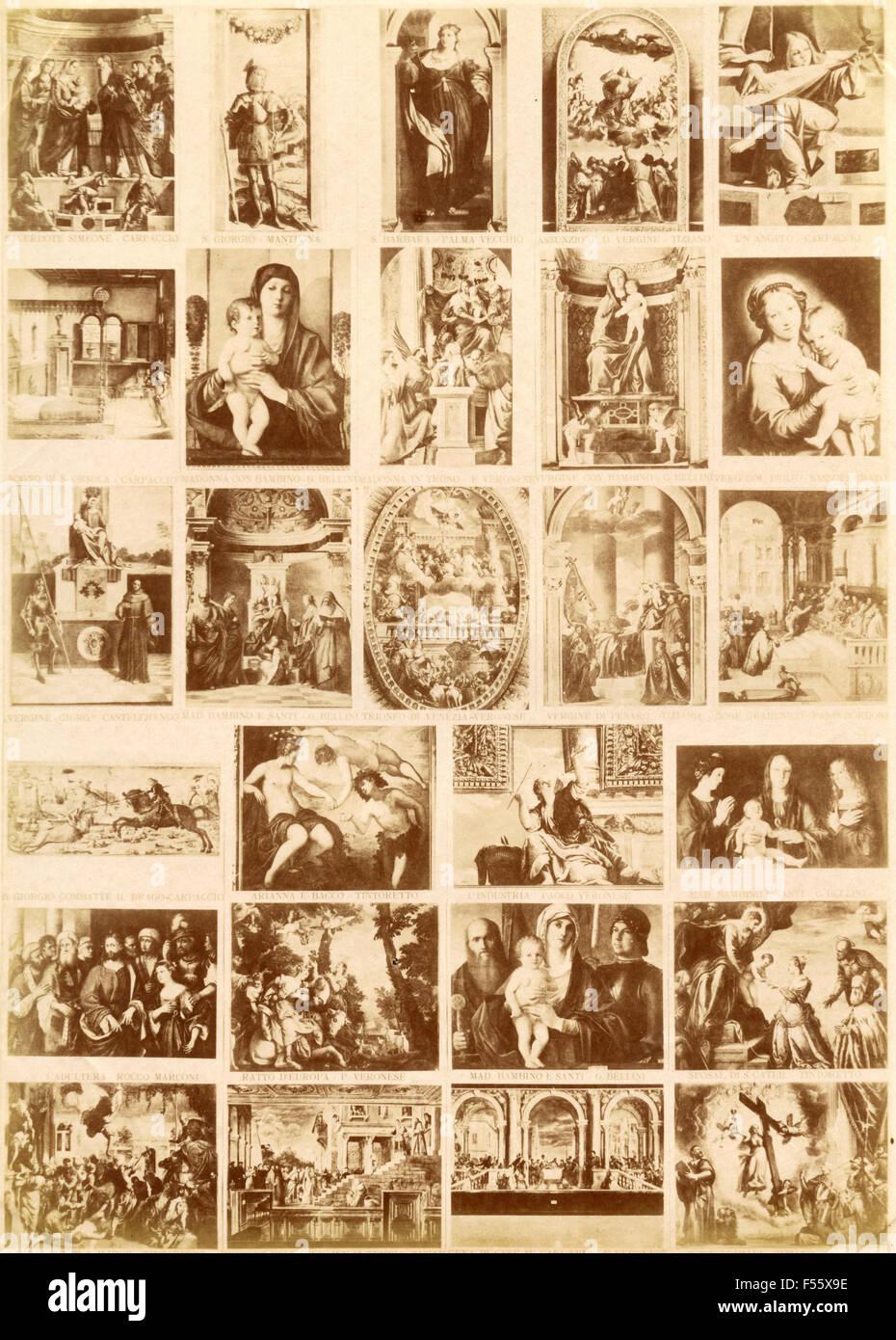 Raccolta di immagini sacre e quadri famosi Immagini Stock