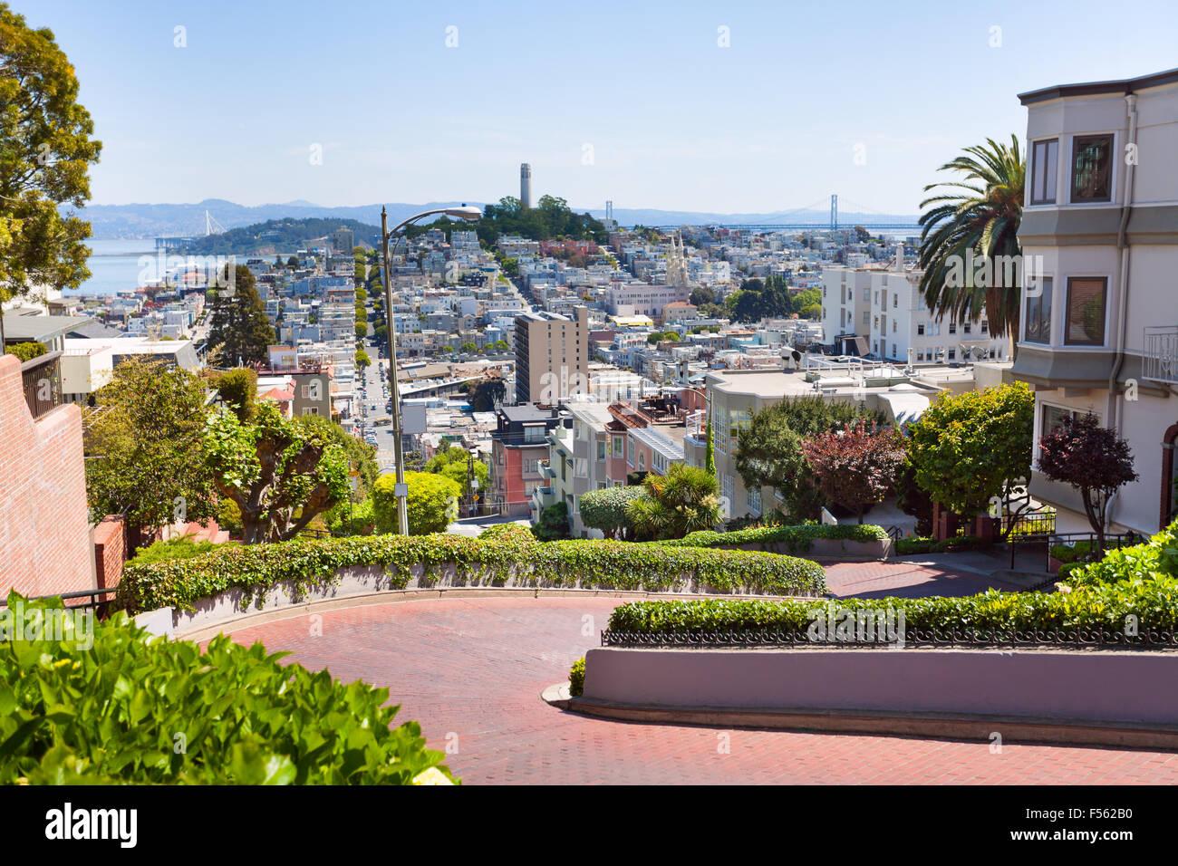 Vista di Lombard street, cityscape, San Francisco Immagini Stock
