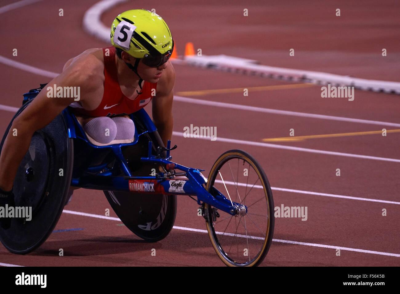 Doha in Qatar. 28 ott 2015. Panoramica eventi - Uomini 800m T54 - Round 1 il calore da 1 a 4 a 2015 IPC Atletica Immagini Stock